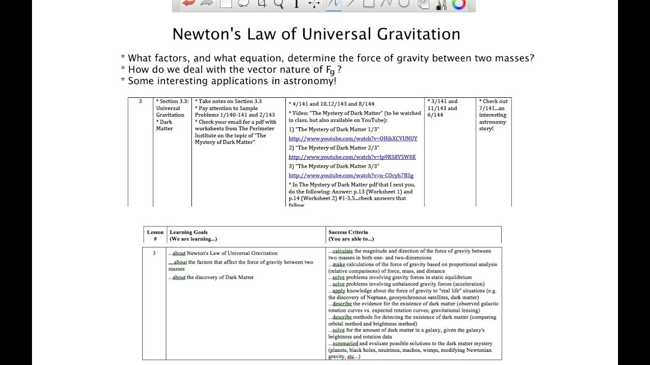 worksheet Law Of Universal Gravitation Worksheet Key newtons law of universal gravitation grade 12 youtube 12
