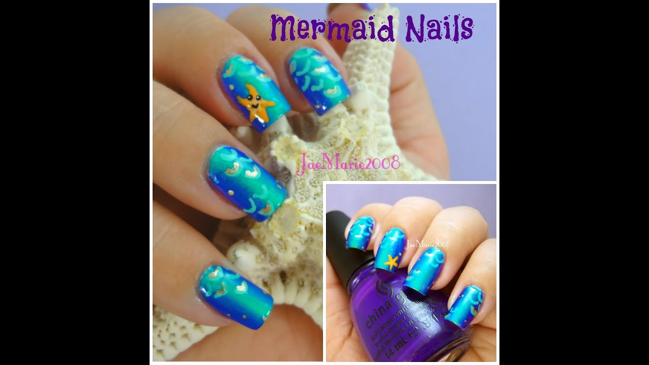 Mermaid Nail Art Design - Mermaid Nail Art Design - YouTube