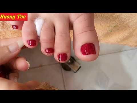 Hướng dẫn sơn móng chân màu đậm không bị lem bóng đẹp - tại Hương tóc