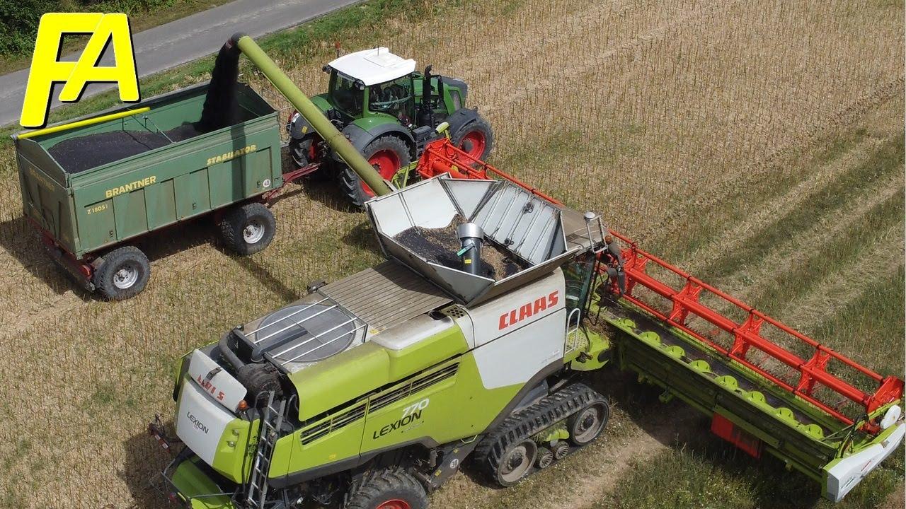 🚜 CLAAS LEXION 770 🚜 Mähdrescher Drohnen Aufnahme + FENDT   Rapsernte Canola Harvest 2021 Part 1