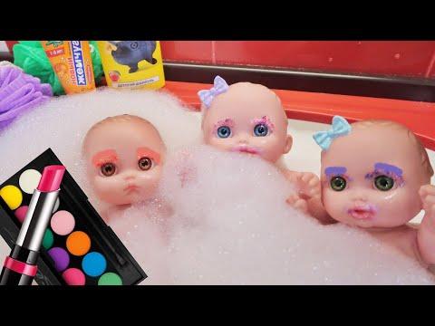 Куклы красятся косметикой для девочек/купаются в ванной с сюрпризами/Зырики