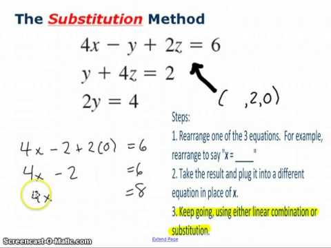 Using The Substitution Method With 3 Variables Youtube