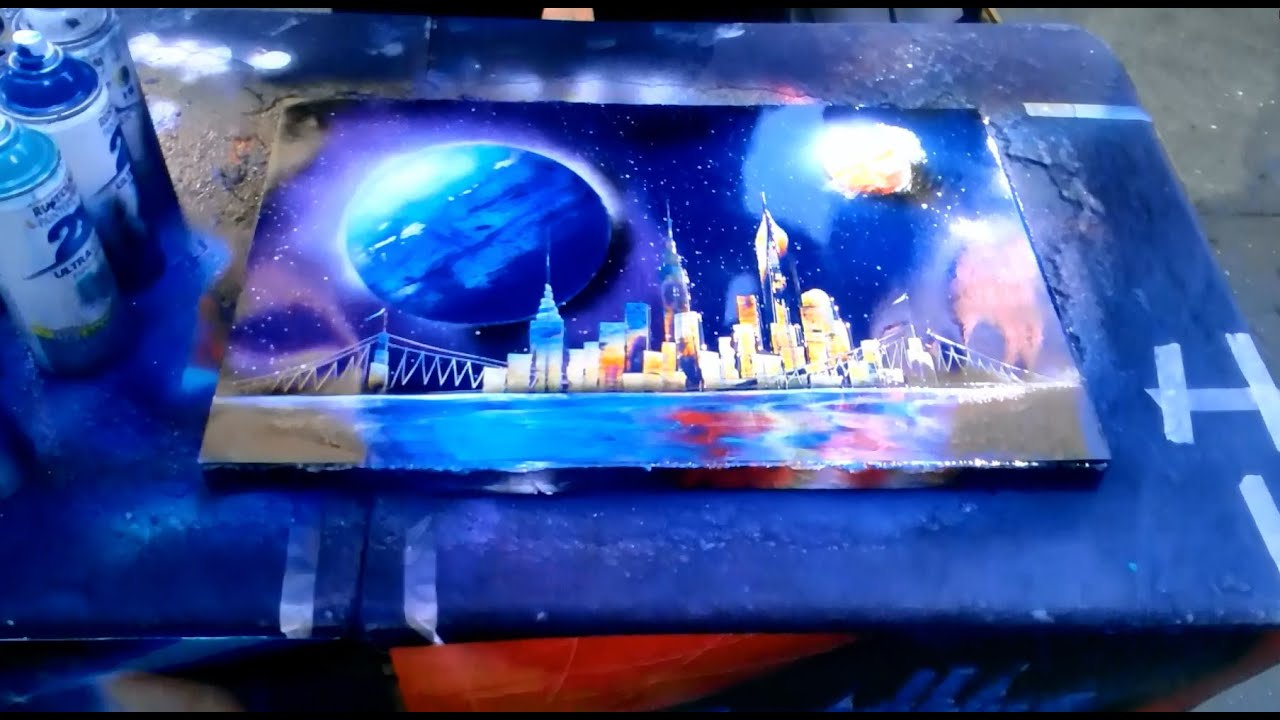 street painting artist in new york city part 2 spray. Black Bedroom Furniture Sets. Home Design Ideas