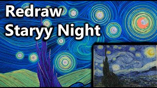 Redraw Starry Night painting With Compass | Printer Man