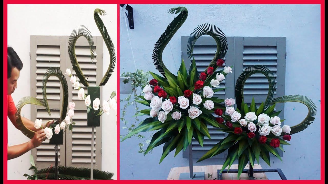 Cắm bình hoa hồng 2 tầng | Mẫu cắm hoa phụng vụ đẹp