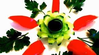 Очень легкий и красивый цветок из огурца! Украшения из овощей. Карвинг огурца