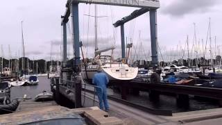 Buying a Najad ?  Lifting a Najad 490 for a yacht survey.