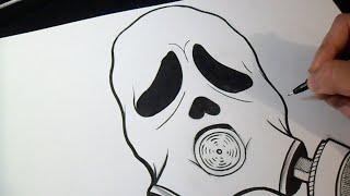 Graffiti Boceto - Cómo dibujar Mascara Anti-Gas GhostFace Graffiti
