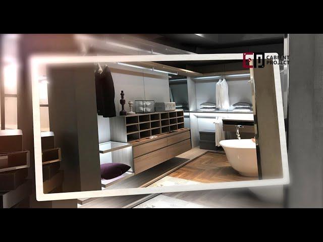 Proyecto de gabinete, armario con estantes abiertos y armario abierto moderno