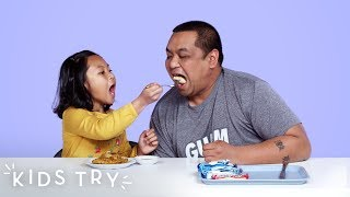 Celine Tries Her Dad&#39s Military Dorm Food  Kids Try  HiHo Kids