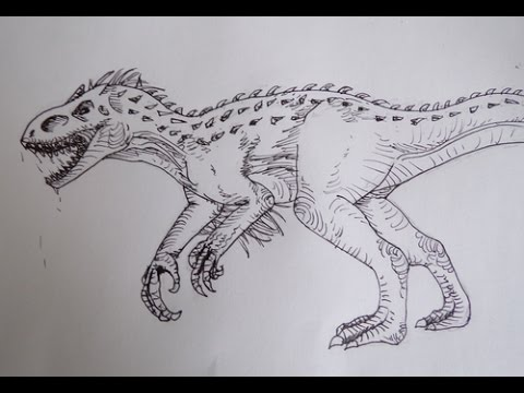 Dessin dessiner l 39 indominus rex youtube - Modele dessin dragon ...