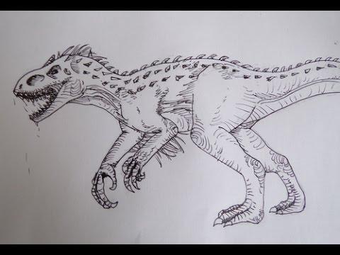 Coloriage Dinosaure Sur Ordinateur.Dessin Dessiner L Indominus Rex Youtube