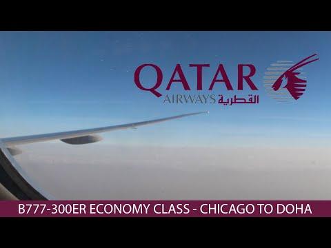 Qatar Airways Flight 726 B777-300ER Chicago ✈︎ Doha Economy Class Trip Report