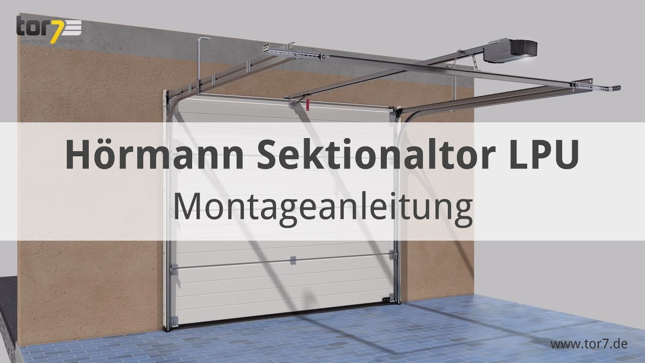 montage eines h rmann garagen sectionaltor lpu renomatic light youtube. Black Bedroom Furniture Sets. Home Design Ideas