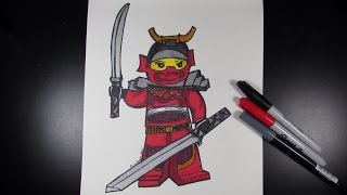 How to draw Ninjago Nya the Red Samurai - Lego Speed Draw #38