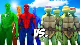 Teenage Mutant Ninja Turtles VS Spider-Man, Green Spiderman, Blue Spiderman, Orange Spiderman