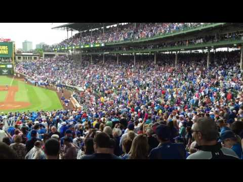 Fans sing 'Go Cubs Go' after win in Wrigley