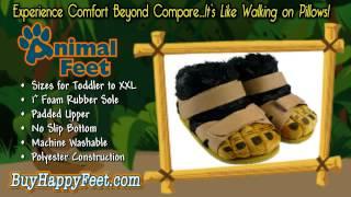Happy Feet - Tan and Black Hairy Feet - Animal Slippers | BuyHappyFeet