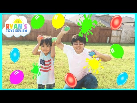 COLOR WATER BALLOONS FIGHT Water Toys Family Fun Outdoors Activities for Kids Ryan ToysReview