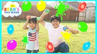COLOR WATER BALLOONS FIGHT | Outdoors Activities for Kids thumbnail