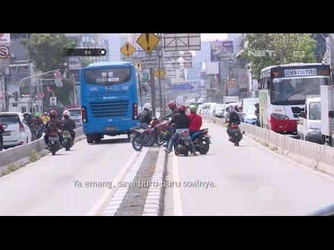 Kepergok Petugas Gunakan Jalur Busway, Puluhan Motor Berhamburan Kabur