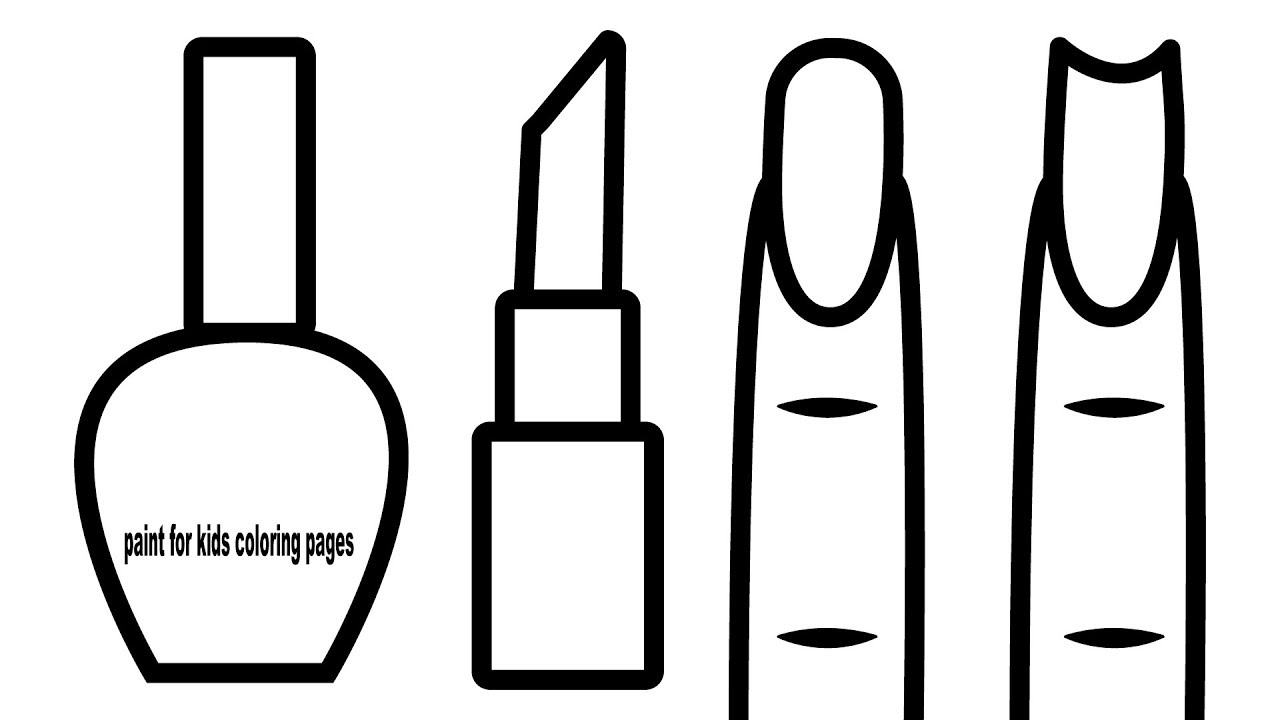 Nail Art Design Coloring Pages, Makeup Coloring Book for