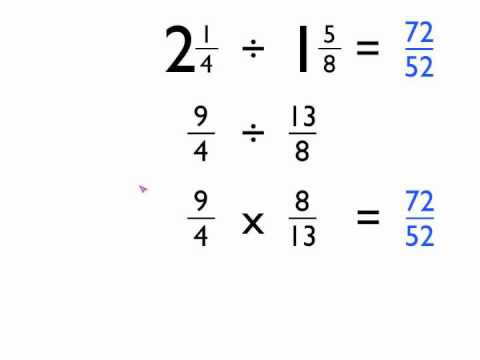 Calculations with mixed numbers and fractions