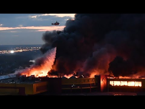 Russia fire:  footage from helicopter, kemerovo blaze