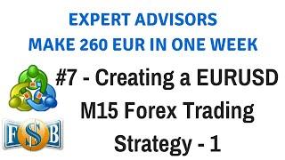 Part 7 - Creating a EURUSD M15 Forex Trading Strategy - 1 | Create & Trade Expert Advisors