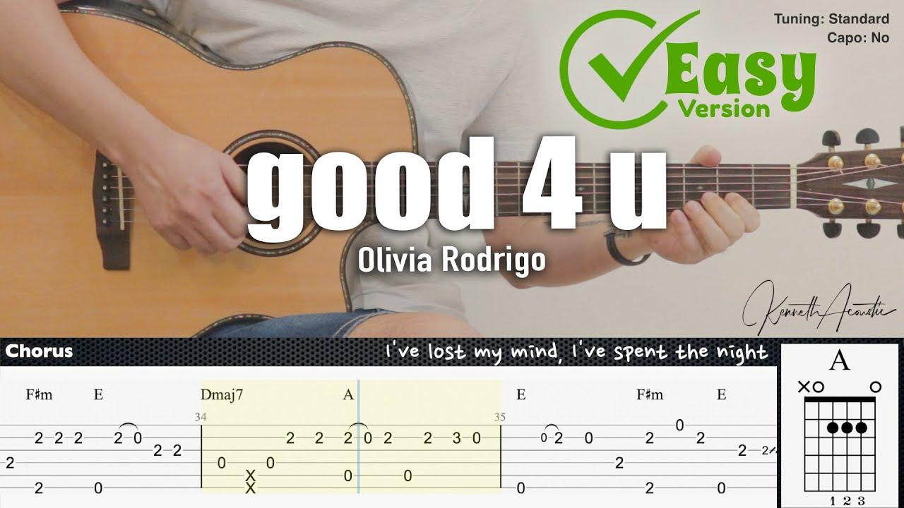 good 4 u (Easy Version) - Olivia Rodrigo | Fingerstyle Guitar | TAB + Chords + Lyrics
