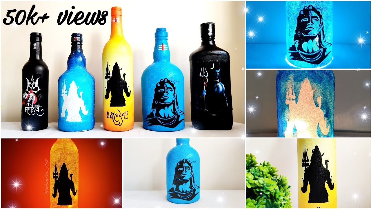 Diy Bottle Art Mahashivratri Special How To Draw Paint Lord Shiva Bottle Lamp Episode 17 Youtube