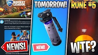 Volcano & 5th Rune, 8.51 Tomorrow, Rocket League, Account Merge ENDED! (Fortnite News)