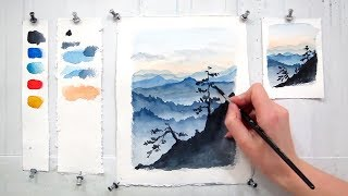 Горы Голубого Хребта. Акварель для начинающих.