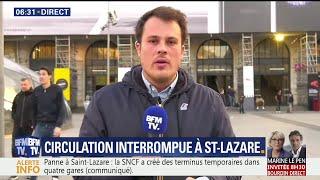 """""""Gros pépin"""" à la gare Saint-Lazare, la circulation est totalement interrompue"""