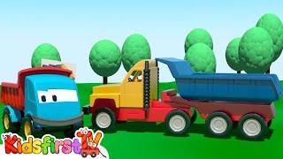 Kids 3d Construction Cartoons For Children 2: Leo Truck Builds A Haul Truck! {大卡车} Kidsfirsttv