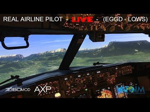 Real Airline Pilot LIVE (X-Plane 11 - ZIBO MOD 737) Bristol - Salzburg