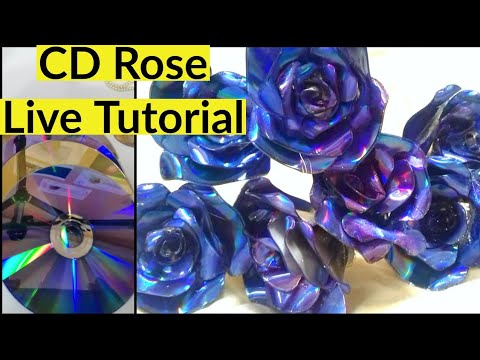 DVD Rose making full steps live tutorial / DVD Recycling /Best out of waste with DVD