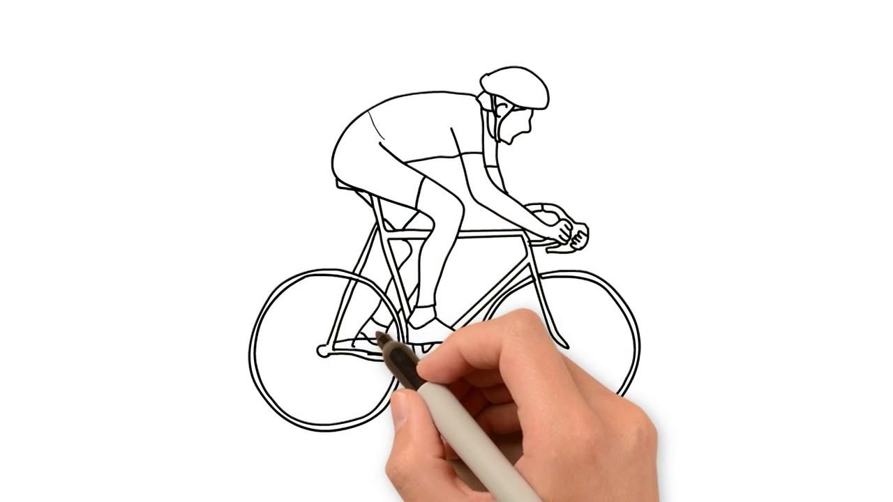картинки велосипедиста карандашом поэтапно природы чистый воздух