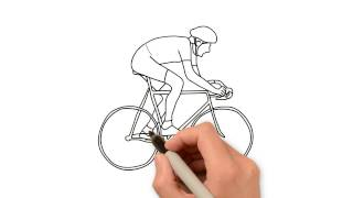 How to draw man riding cycle