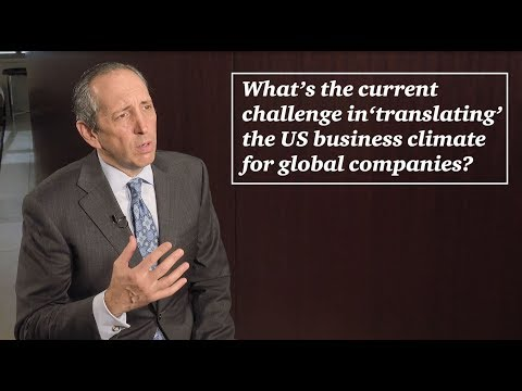 What's the current challenge in 'translating' the US business climate for global companies?
