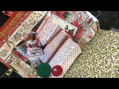 December Daily layout / vintage linens & buttons