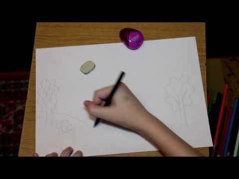 Рисуем карандашами / осенний пейзаж / первое видео