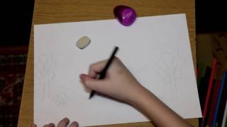Обложка Рисуем карандашами осенний пейзаж первое видео