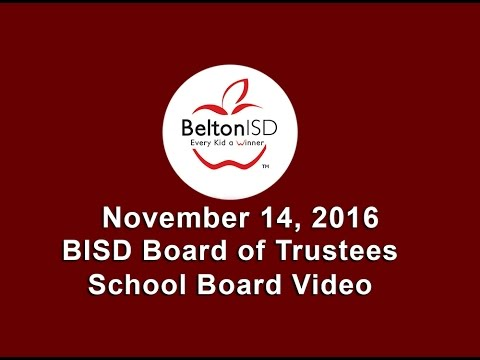 Belton ISD School Board Meeting 14 November 2016