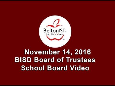 Belton ISD School Board Meeting 14 November 2016