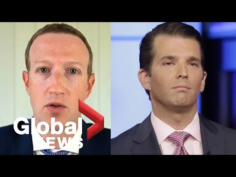 "Mark Zuckerberg questioned on Facebook's decision to ""censor"" Donald Trump Jr…on Twitter"