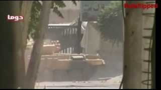 T90 Battle Tank in Use in Syria with Shtora Anti-Missile Defense System in Action