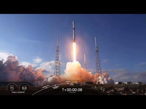 Запуск Falcon 9 от SpaceX с 60 спутниками Starlink. Взлет и посадка ступени. Вывод спутников.