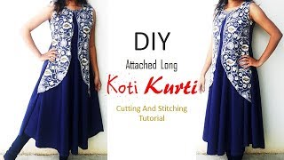 DIY Attached Long Koti Kurti Cutting And Stitching Full Tutorial