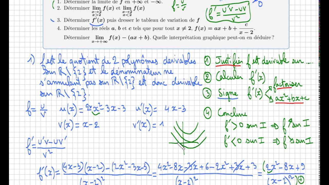étude d'une fonction • Calcul de f'(x) • Signe de la dérivée • Tableau de variations - YouTube